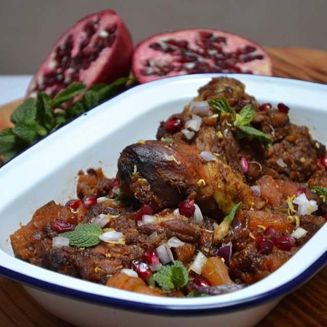 Moroccan Chicken with Dried Fruit, Mint and Pomegranate